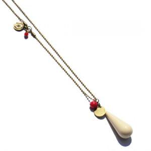 collier bianca avec goutte en résine ivoire