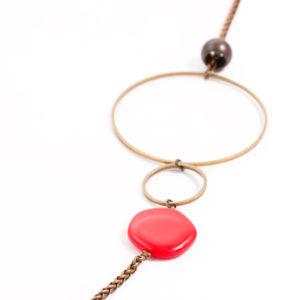 sautoir carmen cercles et chaines en laiton et pierres de verre