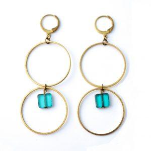 boucles d'oreilles créoles pierre de verre turquoise
