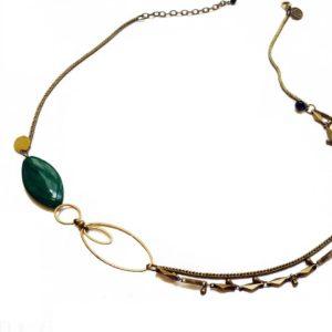 headband collier en laiton doré et perle de verre calisson