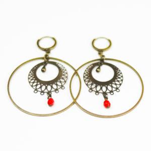 boucles créoles orientales perles rouges