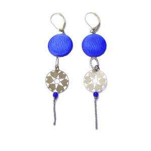 bijou fantaisie boucles d'oreilles coeur laiton pierre bleu nuit