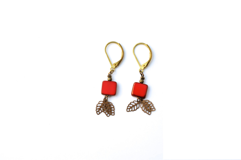 boucle d oreille rouge fantaisie bijoux chic. Black Bedroom Furniture Sets. Home Design Ideas