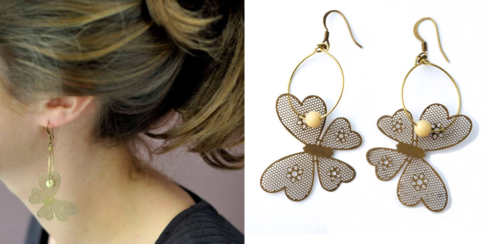 boucles creoles fantaisie papillon made in france
