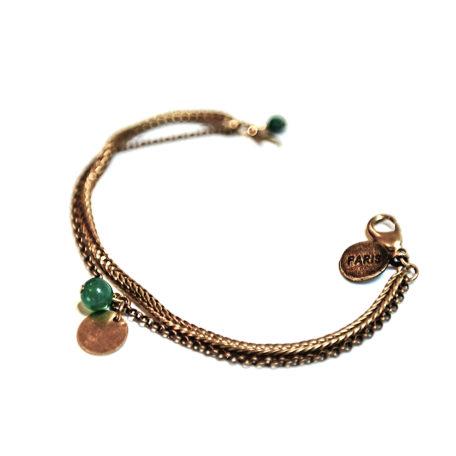Bracelet double chaine pastille dorée en laiton et sa perle ronde en verre de couleur