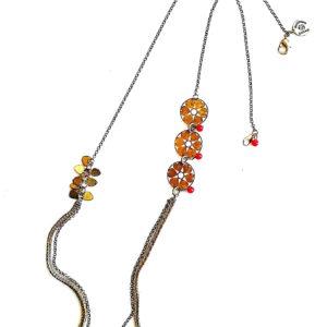 Collier TROIS TREFLES chaines multiples estampe 4 coeurs en laiton doré et ses perles en verre de couleur