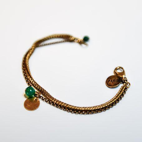 Bracelet double chaîne laiton réf Hera ...perle ronde en verre de couleur.