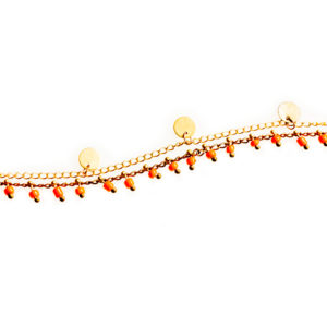 ocailles de couleur et chaine à pastilles dorées . Existe en mordoré, orange, blanc et rouge