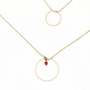 Collier chaine fine en laiton double cercle laiton doré et ses petites perles en verre de couleur