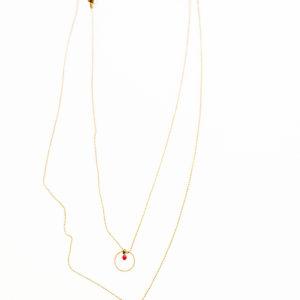 Collier double rang LAÏLI cercle et losange en laiton doré et ses petites perles en verre de couleur