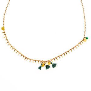 Ras de cou JAÏPUR chaines ajourée et pastilles en laiton dorées et ses perles et pompons de couleur