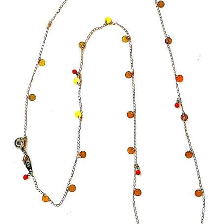 Sautoir CYBELE pastilles laiton et perles ronde en verre de couleur. Chaine laiton doré .