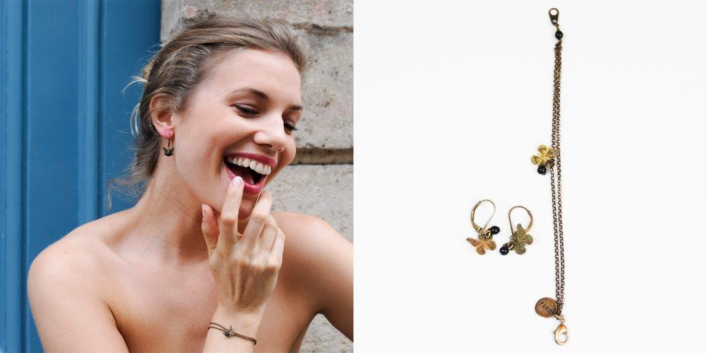 Boucles d'oreilles Papillon et son bracelet assortis fermoir laiton doré et sa perle noir de couleur