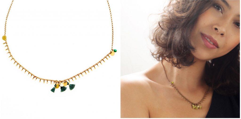 pastille dorée perles et pompon de couleur en boutique dans différents coloris