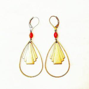 Boucles d'oreilles Losange, estampe et fermoir en laiton et sa perle émaillée en verre de couleur