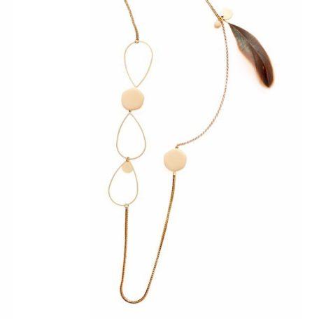 Sautoir LIANE losange et chaine en laiton et perle ronde en verre de couleur (avec ou sans plume)