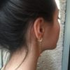 Boucles d'oreilles AVRIL chaine gourmette et perle en verre coloré