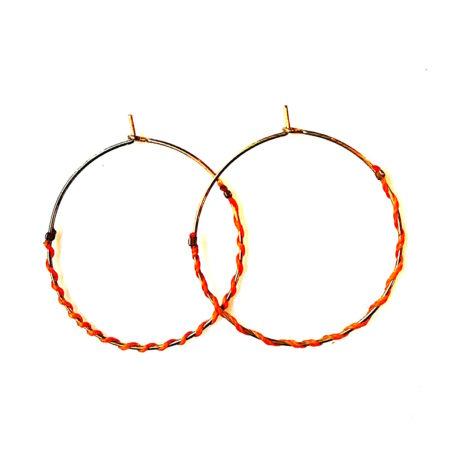 Créole IRENEE cercle laiton entouré de fil de coton ciré coloré