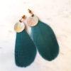 Boucles d'oreilles CALAO plume et pastilles en laiton . Fermoir laiton