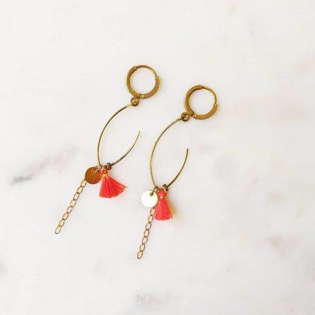 Boucles d'oreilles PISSENLIT laiton perles et pompons coloré
